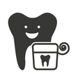tooth character silhouette with dental care icon vector image vector image