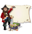 treasure chest and pirate blank frame vector image