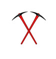 two crossed mattocks with red handle vector image vector image