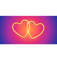 two neon style valentines day hearts vector image