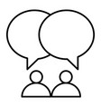 two people and dialogue thin line icon vector image vector image