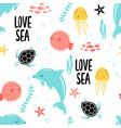underwater animals print design with slogan vector image vector image