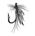 vintage fly fishing lure vector image