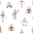 watercolor bapattern with robots vector image