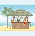 woman at beach bar - cartoon people character vector image vector image