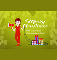 woman hold megaphone gift boxes in sledge happy vector image