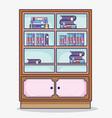 wooden library cartoon vector image