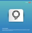 wreath icon - blue sticker button vector image