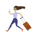 young woman running with a suitcase stylish girl vector image