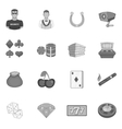Casino icons set black monochrome style vector image