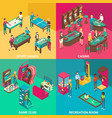 game rooms flat 3d isometric vector image