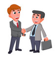 two businessman shaking hands happy negotiating vector image