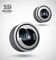 Vinyl with DJ hand icon isolated 3d design elemen vector image