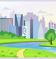 green city landscape with road river and trees vector image