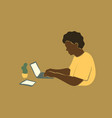 abstract portrait african young man using laptop vector image vector image