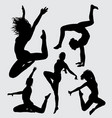 aerobic dance silhouette vector image vector image