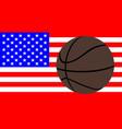 basketball over a usa flag vector image vector image
