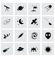black space icons set vector image vector image