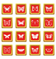 butterfly icons set red vector image vector image