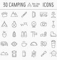 Camping Thin Line Icon Set of Adventure Elements vector image vector image