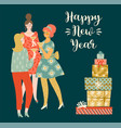 christmas and happy new year young vector image vector image