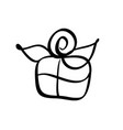 christmas gift box icon silhouette simple vector image vector image