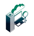cloud computing laptop magnifying glass database vector image vector image