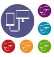 connection phone icons set vector image vector image