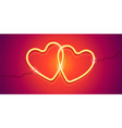 couple yellow neon hearts with wires on vector image
