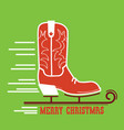 cowboy merry christmas card cowboy ice skate boot vector image vector image