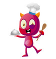 devil cooking food on white background vector image vector image