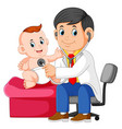 doctor is checking baboy vector image vector image