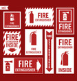 fire extinguisher labels and signs vector image vector image