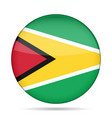 flag of guyana shiny round button vector image vector image