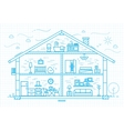 Flat house silhouette blue vector image