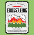 forest trees firefighting nature protection vector image vector image