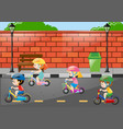 four children riding bike on the road vector image