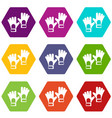 gloves of goalkeeper icon set color hexahedron vector image