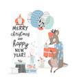 greeting christmas card with cute deer and mouses vector image vector image