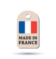 hang tag made in france with flag on white vector image vector image