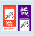 happy halloween invitation design with knife vector image