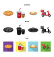isolated object of pizza and food logo collection vector image