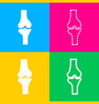 knee joint sign four styles of icon on four color vector image vector image
