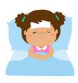 little sick girl sleep in bed vector image vector image