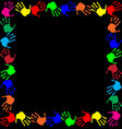 multicolored handprints border isolated on black vector image