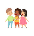 multicultural little kids standing together vector image vector image