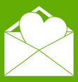 open envelope with heart icon green vector image vector image