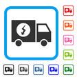 power supply van framed icon vector image