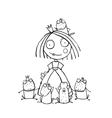 Princess and Many Prince Frogs Portrait Coloring vector image vector image