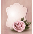 Retro greeting card with pink rose vector | Price: 1 Credit (USD $1)